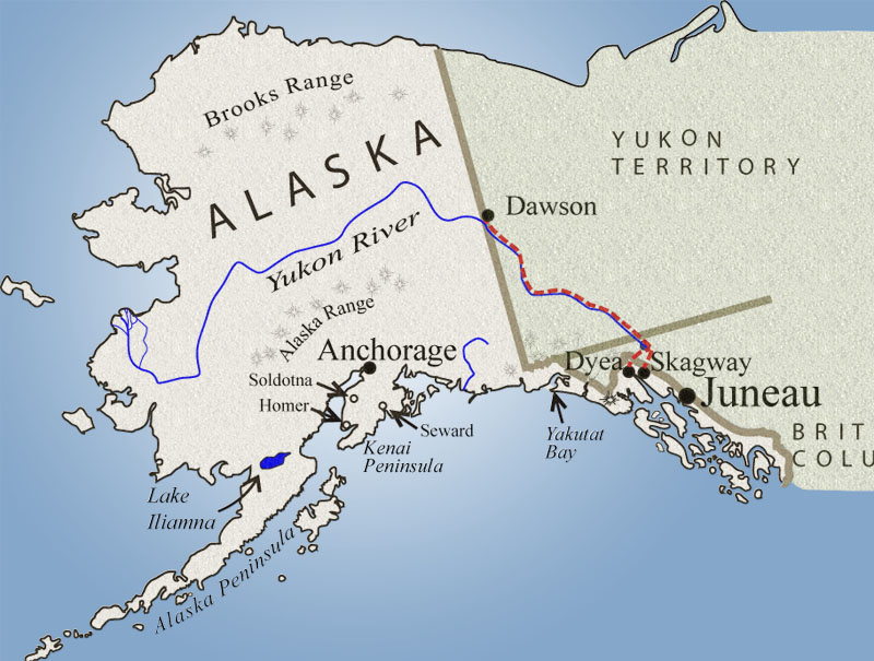 Jack London and Robert Service Map of Route to the Klondike