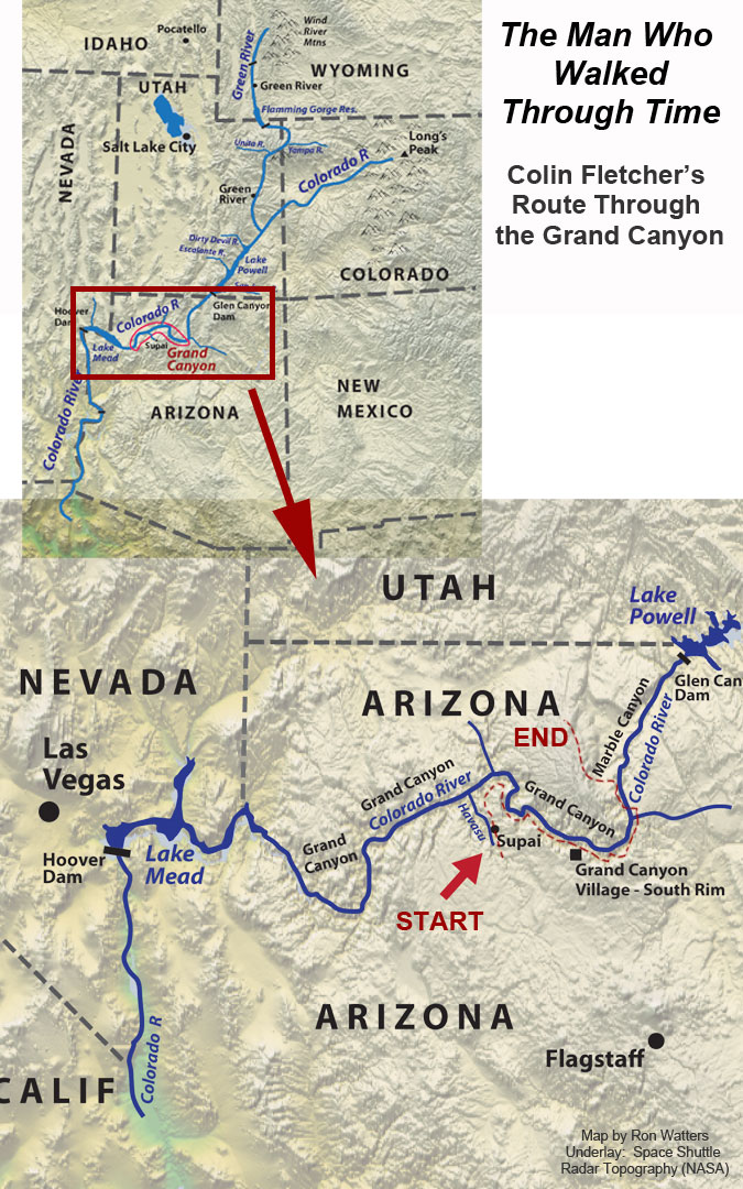 Colin Fletcher's Route Backpacking Route Through the Grand Canyon
