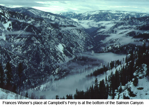 Main Salmon Canyon: Francis Wisner's Place is at the bottom of the Canyon