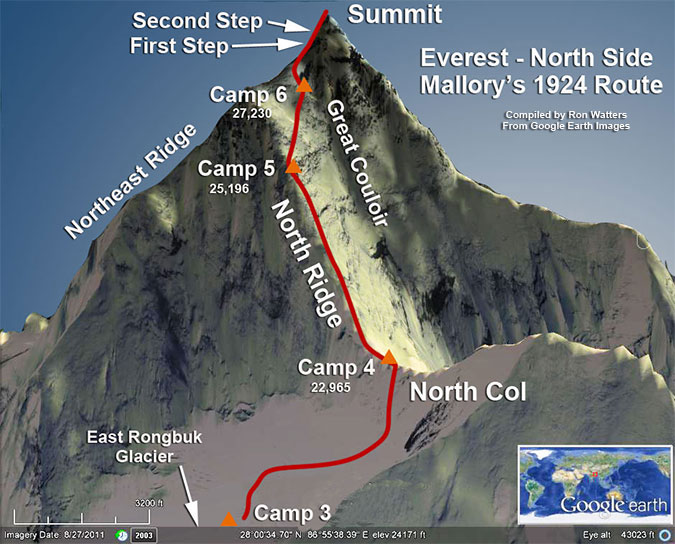 Mallory 1924 Route on Everest