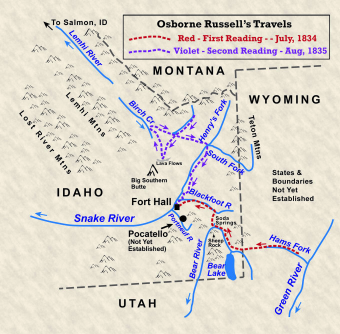 Map of Russell's Travels in Idaho