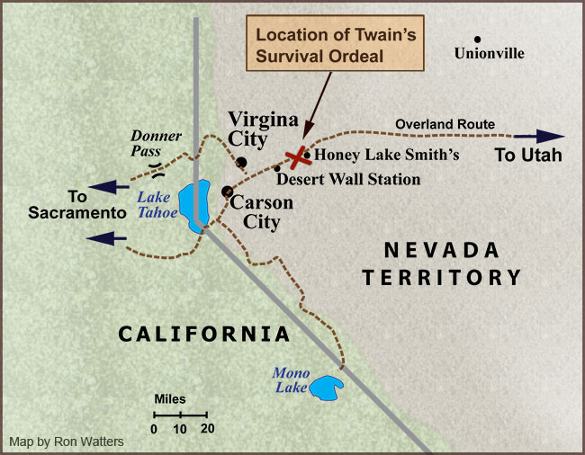 Map of Mark Twain's Survival Ordeal