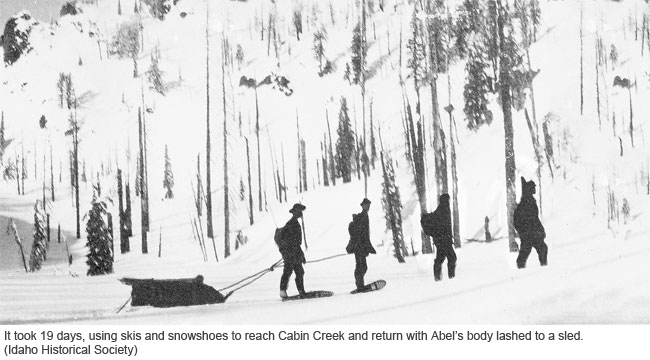 Mel Abel's Corpse Being Hauled Back on a Sled