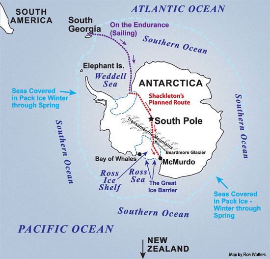 Shackleton's Proposed Route Across Antarctica