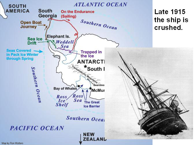 Shackleton's Ship the Enduranced is Crushed - Map