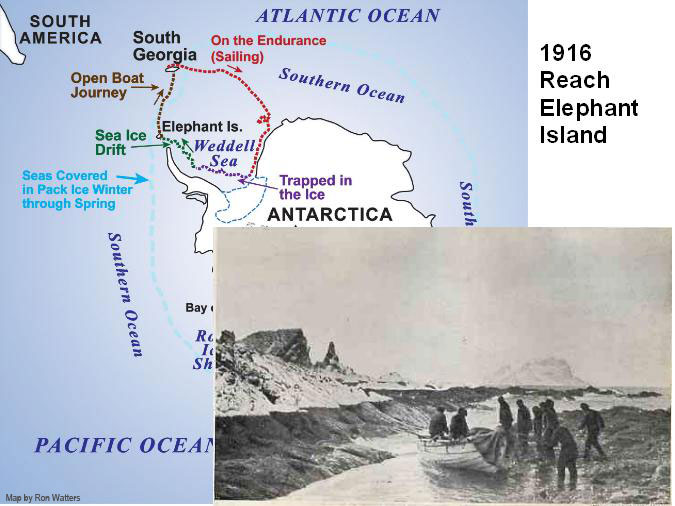 Shackleton's Party Reaches Elephant Island - Map