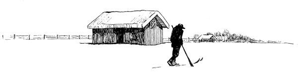 Crossed Skis Drawing Skier And Cabin