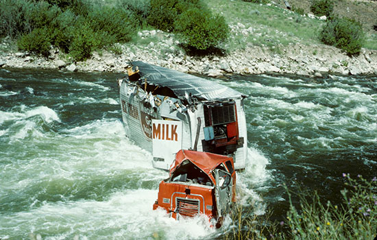 Truck in the Midst of the North Fork's Rapids