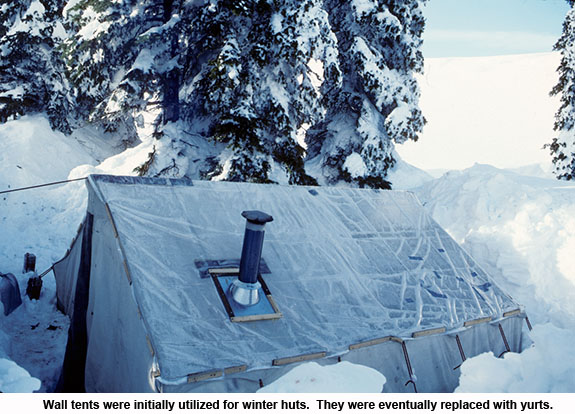 Wall tents used for winter huts