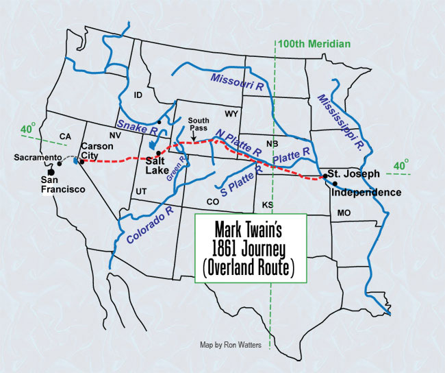 Map: Mark Twain's Route